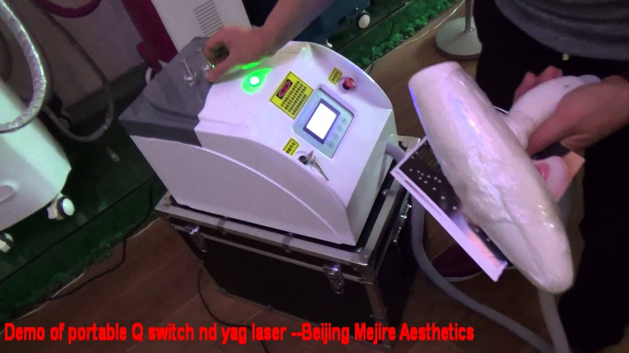 Demo of portable nd yag laser tattoo removal machine