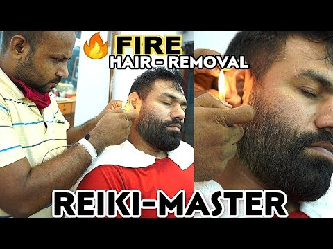 ASMR FIRE 🔥 HAIR REMOVAL HEAD MASSAGE, NECK, HAND, CRACKINGS THERAPY BY INDIAN BARBER REIKI-MASTER